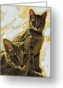 Kittens Digital Art Greeting Cards - Curious Cats Greeting Card by David G Paul