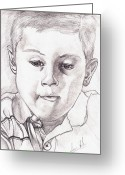 Peeping Drawings Greeting Cards - Curious Kid Greeting Card by Samuel Foster