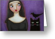 Nun Greeting Cards - Curious Nun and Cat Greeting Card by Ryan Conners