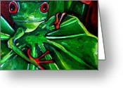 Amphibians Greeting Cards - Curious Tree Frog Greeting Card by Patti Schermerhorn
