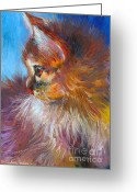Austin Greeting Cards - Curious Tubby Kitten painting Greeting Card by Svetlana Novikova