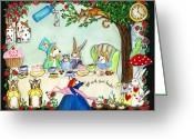 Storybook Greeting Cards - Curiouser and Curiouser Greeting Card by Cathy Santarsiero