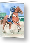 Horserace Greeting Cards - Curlin Greeting Card by Arline Wagner