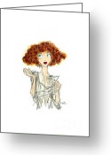 Martini Drawings Greeting Cards - Curly Haired Girl Greeting Card by Keith QbNyc