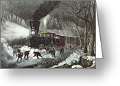 Old Fashioned Painting Greeting Cards - Currier and Ives Greeting Card by American Railroad Scene