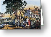 Lithograph Greeting Cards - Currier: Country Life Greeting Card by Granger