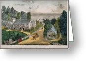 1871 Greeting Cards - Currier & Ives: Farm House Greeting Card by Granger