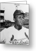 Flood Greeting Cards - Curt Flood (1938- ) Greeting Card by Granger