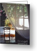 Rhodes Greece Greeting Cards - Curtain Greeting Card by Andrea Simon