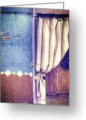 Curtain Greeting Cards - Curtain Greeting Card by Joana Kruse