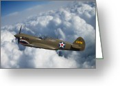 War Plane Greeting Cards - Curtiss P-40 Warhawk Greeting Card by Adam Romanowicz