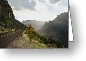 Double Yellow Line Greeting Cards - Curve Ahead Sign in Mountain Pass Greeting Card by Ned Frisk