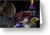 Oil Lamp Greeting Cards - Curved Glass Plate and Grapes Greeting Card by Frank Schmidt