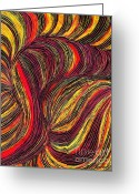 Reds Greeting Cards - Curved Lines 3 Greeting Card by Sarah Loft