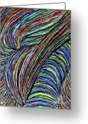 Swirls Drawings Greeting Cards - Curved Lines 7 Greeting Card by Sarah Loft