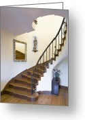 Wood Floors Greeting Cards - Curved Staircase Greeting Card by Andersen Ross