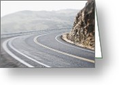 Yellow Line Greeting Cards - Curving Two Lane Road Greeting Card by Jetta Productions, Inc