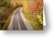 Yellow Line Greeting Cards - Curvy Road Blue Ridge Parkway, North Carolina Greeting Card by Lightvision, LLC