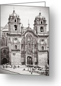 Andes Greeting Cards - Cusco Cathedral Greeting Card by Darcy Michaelchuk