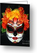 Day Sculpture Greeting Cards - Custom Sugar Skull Mask 2 Greeting Card by Mitza Hurst