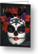 Day Sculpture Greeting Cards - Custom Sugar Skull Mask 3 Greeting Card by Mitza Hurst