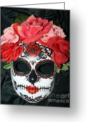 Day Sculpture Greeting Cards - Custom Sugar Skull Mask Greeting Card by Mitza Hurst