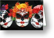 Day Sculpture Greeting Cards - Custom Trio Sugar Skull Masks Greeting Card by Mitza Hurst