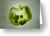 Oldfashioned Greeting Cards - Cut green bell pepper Greeting Card by Bernard Jaubert
