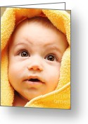 Bathe Greeting Cards - Cute baby face Greeting Card by Anna Omelchenko