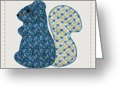 Photography Tk Designs Greeting Cards - Cute Country Style Blue Squirrel Greeting Card by Tracie Kaska