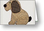 Photography Tk Designs Greeting Cards - Cute Country Style Gingham Dog Greeting Card by Tracie Kaska