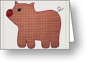 Photography Tk Designs Greeting Cards - Cute Country Style Pink Plaid Pig Greeting Card by Tracie Kaska