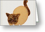 Photography Tk Designs Greeting Cards - Cute Country Style Quilt Cat Greeting Card by Tracie Kaska
