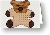 Stuffed Animals Greeting Cards - Cute Country Style Teddy Bear Greeting Card by Tracie Kaska