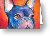 Contemporary Dog Portraits Greeting Cards - Cute French bulldog painting prints Greeting Card by Svetlana Novikova