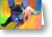 Commissioned Greeting Cards - Cute French Bulldog puppy painting Giclee print Greeting Card by Svetlana Novikova