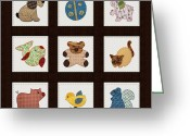 Quilting Greeting Cards - Cute Nursery Animals Baby Quilt Greeting Card by Tracie Kaska