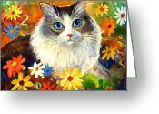 Colorful Drawings Greeting Cards - Cute Ragdoll Tubby Cat in flowers Greeting Card by Svetlana Novikova
