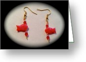 Gift Jewelry Greeting Cards - Cute red fishes earrings Greeting Card by Pretchill Smith