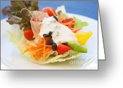 Delicious Greeting Cards - Cute Salad Greeting Card by Atiketta Sangasaeng