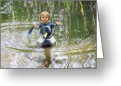Gnome Greeting Cards - Cute tiny boy riding a duck Greeting Card by Jaroslaw Grudzinski
