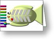 Xylophone Greeting Cards - Cute X-Ray Fish playing the Xylophone Greeting Card by Rose Santuci-Sofranko