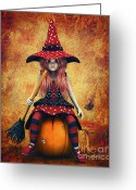 Jutta Pusl Greeting Cards - Cutest Little Witch Greeting Card by Jutta Maria Pusl