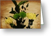 Flower Still Life Prints Greeting Cards - Cutie Carnations Greeting Card by Marsha Heiken