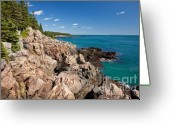 Trees And Rock Cliffs Greeting Cards - Cutler Cliffs 1 Greeting Card by Susan Cole Kelly