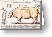 Butchers Decor Greeting Cards - Cuts of Pork Greeting Card by French School