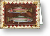 Lodge Greeting Cards - Cutthroat and Rainbow Trout Lodge Greeting Card by JQ Licensing