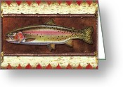 Lodge Greeting Cards - Cutthroat Trout Lodge Greeting Card by JQ Licensing