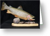 Fishing Sculpture Greeting Cards - Cutthroat Trout on the Rocks Greeting Card by Eric Knowlton