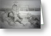 Livestock Drawings Greeting Cards - Cutting Horse Show Greeting Card by Mary  By The Sea